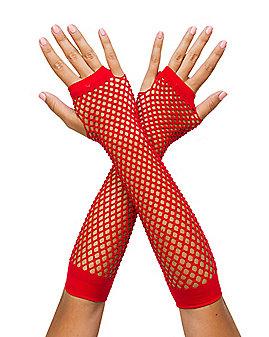 Red Fishnet Arm Warmer