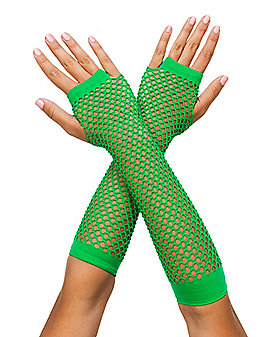 Green Fishnet Arm Warmers