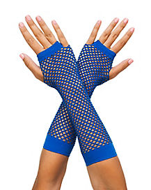 Dark Blue Fishnet Arm Warmers