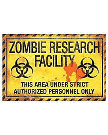 Zombie Research Metal Sign - Decorations