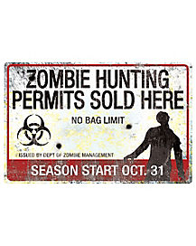 Zombie Hunting Metal Sign - Decorations
