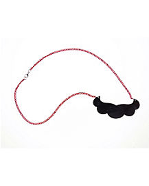 Red Chain Mustache Necklace