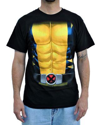 man wearing a superhero t shirt