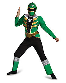 Kids Muscle Jumpsuit Green Power Ranger Costume - Power Rangers