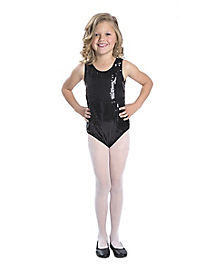 Girls Sequin Black Bodysuit