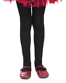 Black Glitter Kids Tights