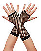 Black Zebra Fishnet Girls Gloves