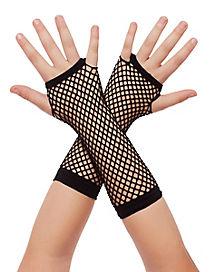 Black Zebra Fishnet Girls Gloves