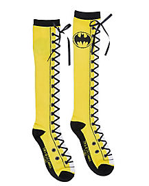 Lace Up Batman Knee High Socks - DC Comics