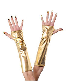 Long Gold Fingerless Gloves