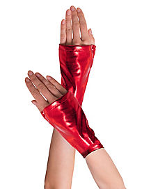 Long Red Fingerless Adult Gloves