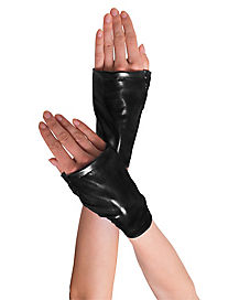 Long Black Fingerless Adult Gloves