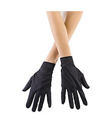 Kids Short Black Gloves