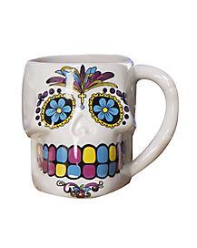 White Sugar Skull Mug