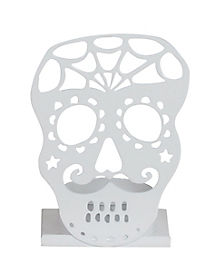 White Sugar Skull Tealight Holder