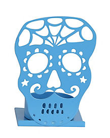 Blue Sugar Skull Tealight Holder