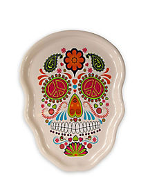 White Sugar Skull Serving Tray