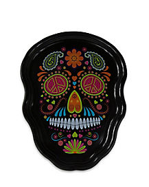 Black Sugar Skull Serving Tray