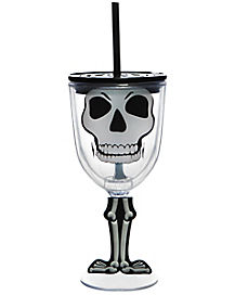 Skeleton Wine Cup With Straw  - 13 oz.