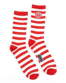 Wheres Waldo Striped Mens Crew Socks