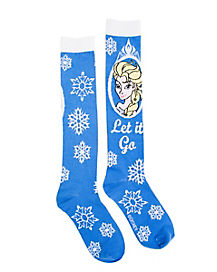 Frozen Elsa Blue Knee High Socks