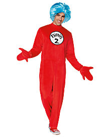 adult thing 1 and 2 one piece costume dr seuss - Thing 1 Thing 2 Halloween Costume