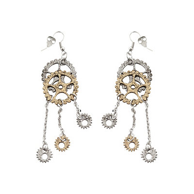 Steampunk Accessories | Gloves, Goggles, Gears, Sunglasses Steampunk Gear Dangle Earrings $6.99 AT vintagedancer.com