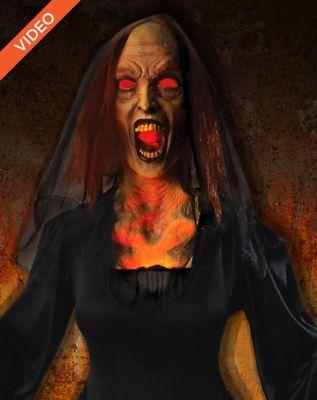 5' Black Widow Flaming Witch