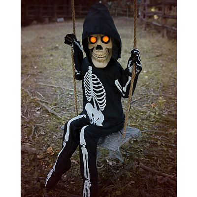 3 ft swinging lil skelly bones animatronics decorations - Skeleton Decorations