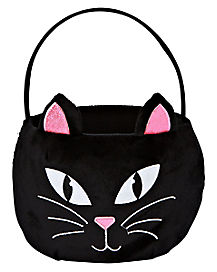 Plush Black Cat Treat Bucket