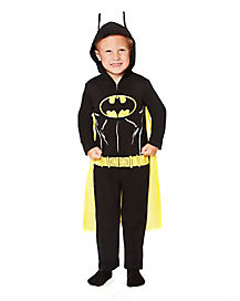 Toddler One Piece Hooded Black Batman Costume - DC Comics