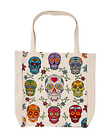 Large Day of the Dead Skull Canvas Tote