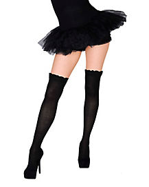 Over the Knee Black Ruffle Cuff Socks