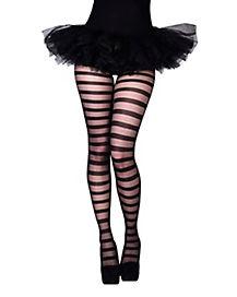 Sheer Black Striped Tights