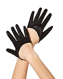 Black Pleather Half Gloves