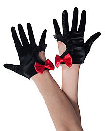 Black Gloves With Red Bow