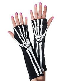 Long Skeleton Fingerless Gloves