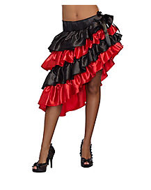 Red and Black Ruffled Skirt
