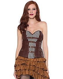 Brown Striped Buckle Corset