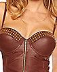 Brown Pleather Corset