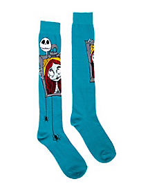 Nightmare Before Christmas Jack Sally Knee Socks