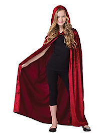 Kids Burgundy Velvet Hooded Cape