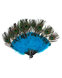 Peacock Tail Feather Fan