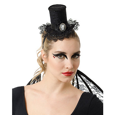 Gothic Top Hat with Skeleton Cameo $12.99 AT vintagedancer.com