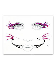 Purple Magic Cat Face Tattoo Decal