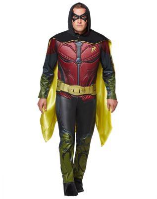 man modeling a robin arkham costume