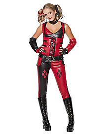 Faux Leather Arkham Harley Quinn Top and Pants Costume