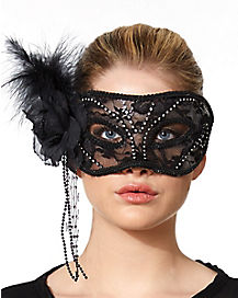 Black Flower and Rhinestones Mask