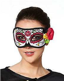 Day of the Dead Multi Color Flowers Eye Mask