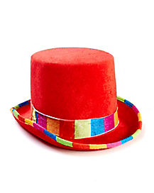 Red Striped Clown Top Hat